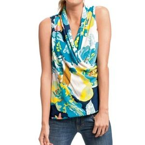 CAbi #741 Floral Blossom Draped Wrap Blouse